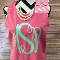 Monogram Tank Top. Monogram Comfort Colors Tank in Solid or Glitter Vinyl.  Monogrammed Tank  Top. Monogrammed Gifts. Beach Cover Up