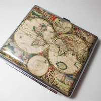 Vintage Antique Orbis World Map Cigarette Case Wallet Card Holder