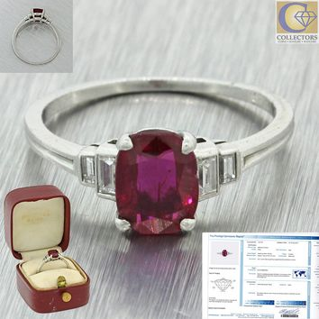 Tiffany & Co. Platinum 1.46ct Cushion Cut No Heat Burma Red Ruby Diamond Ring AG