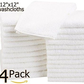 "24 Pack Washcloths (12""x12"")-100% Natural Cotton Multi-Purpose Commercial Grade White (24)"