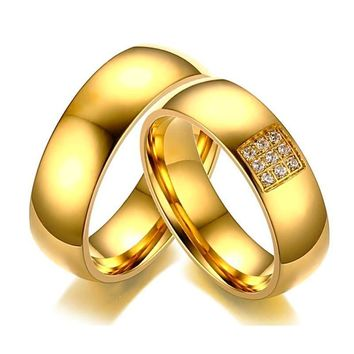 Simple Elegant Wedding Band Ring CZ Stones Gold-Color