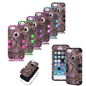 3 Layer Rugged Hybrid Real Tree Straw Grass Camo Case Cover for iPhone 4S 5S 6 Plus