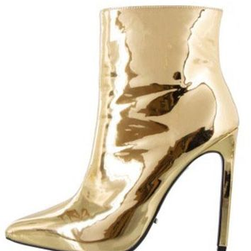 Liquid Gold or Silver Stiletto Heel Ankle Boots