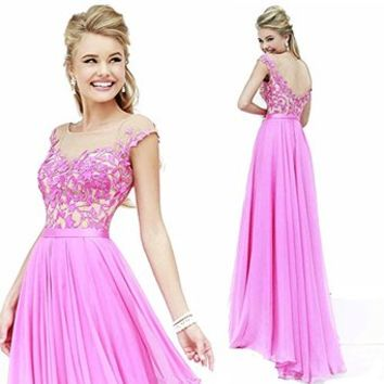 Promplan Lavender Lace Purple Chiffon Full Length Long Prom Dresses