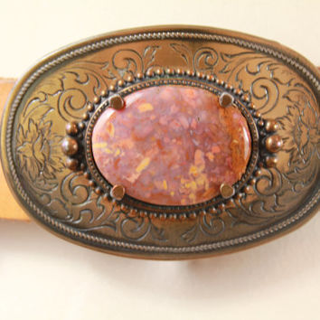 Vintage - 70s/80s - Justin - Nouveau Floral Tooled - Brown Leather Belt - Etched Brass Tone - Agate - Rock - Stone Buckle - Boho - 36 38