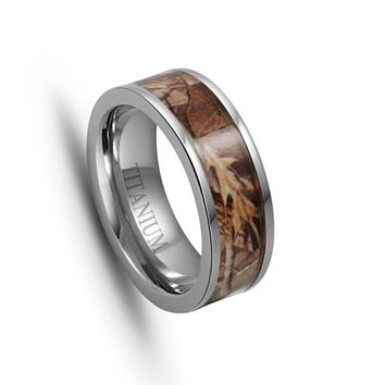 Titanium Wedding Band, Titanium Ring,Titanium Engagement Ring, 7MM,Camouflage Wedding Band,Camo Ring,Titanium Ring,Men,Women .