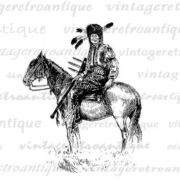 Native American Indian on Horseback Digital Graphic Image Download Printable Vintage Clip Art Jpg Png Eps  HQ 300dpi No.3354