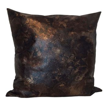 """Faux Leather Golden Effects 18""""x18"""" Pillow Cover - Brown, Black (Wool Blend back)"""
