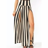 Striped Double Slit Maxi Skirt - GoJane.com