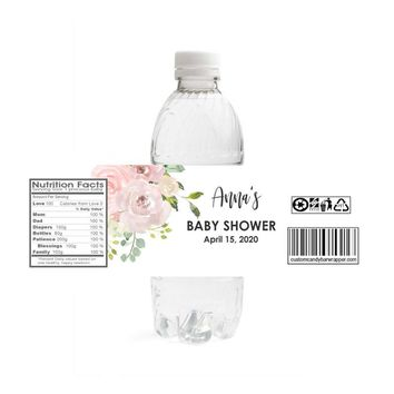 Blush Baby Shower Water Bottle Labels