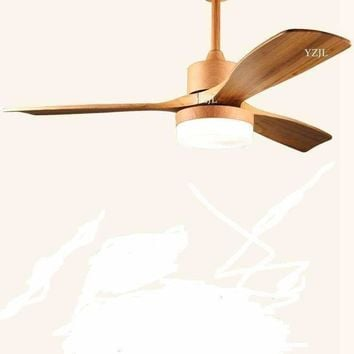 Nordic minimalist dining room fan chandelier fan lights 48inch solid wood fan lamp fan chandelier remote control 110V 240V