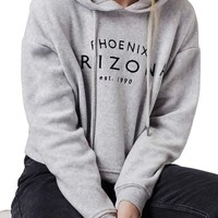 Topshop 'Arizona' Embroidered Brushed Fleece Hoodie | Nordstrom