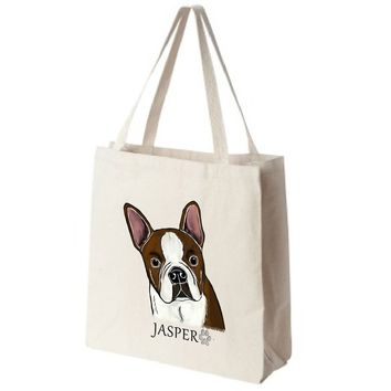 Red Boston Terrier Extra Large Eco Friendly Reusable Cotton Canvas Tote Bag