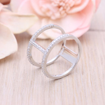 925 sterling silver cubic zirconia H ring