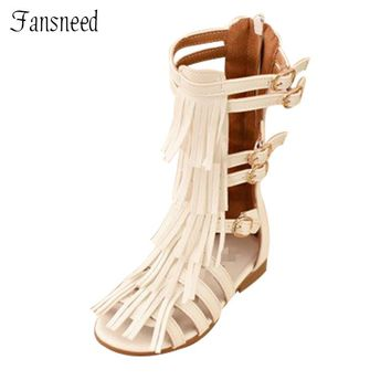 Children's summer 2017girls princess shoes tall canister fringed boots cool girl hollow Open toe sandals Roman