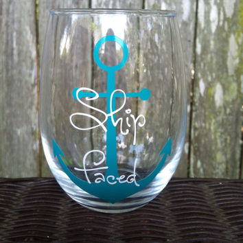 Stemless wine glass, Anchor, ship faced, bridal party favors, bachlorette party, bridal shower gifts