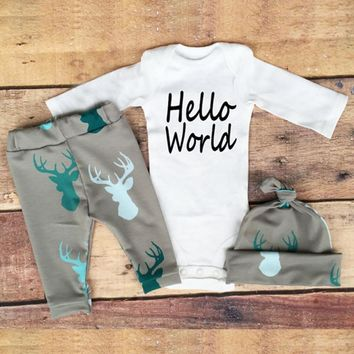 3 pcs Deer Leggings Suit Set