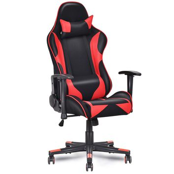 Hudlum Gaming High Back Reclining Gaming Chair, Red/Black
