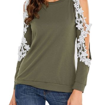 Fashion Lace Trim Cold Shoulder Army Green Long Sleeve Top