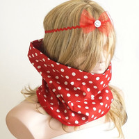 Dotted Fluffy Coton Red and White Scarf, Neckwarmer, reversible