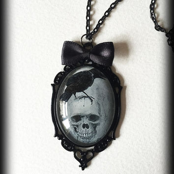 Skull Raven Necklace, Edgar Allen Poe, Gothic Victorian Glass Cameo Pendant, Alternative Jewelry, Gothic Gift Idea Handmade Jewellery