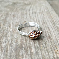 Shell ring, handmade ring, wire wrapped ring, wire ring, shell jewelry, custom ring, bohemian ring, wire wrap ring, beach jewelry, boho