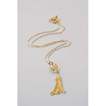 The Betty Collection: Lone Wolf Stamped Necklace With Wolf Charm in Gold or Silver