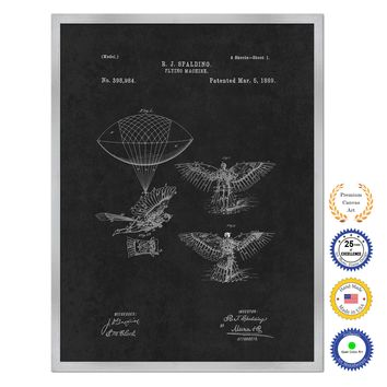 1889 Flying Machine Antique Patent Artwork Silver Framed Canvas Home Office Decor Great for Pilot Gift