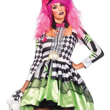 DCCKLP2 2PC.Deliriously Mad Hatter,high/low dressw/ collar,hat headband in MULTICOLOR