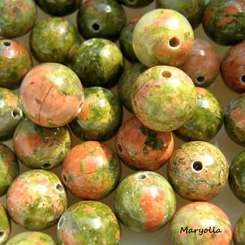 Unakite beads, genuine Unakite 12 mm beads, large glossy beads, DIY jewelry beads, gemstone mala beads, 12 mm round beads in bulk, 1mm hole