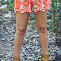 Floral Eyelet Shorts in Taupe