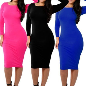 Celeb Inspired Women's Long Sleeves Slim Fit Bodycon Cocktail Sheath Midi Dress = 1946517508