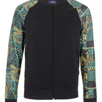 Washed Black Baroque Sleeve Jersey Bomber - View All  - New In