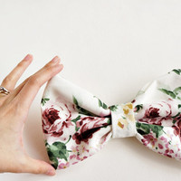 Oversized Garden Bow // floral printed bow for either hair or as a brooch -- Fairy Tale Inspired Accessories