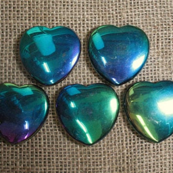 Iridescent Rainbow Hematite Flat Heart, 45 mm - Item 73015