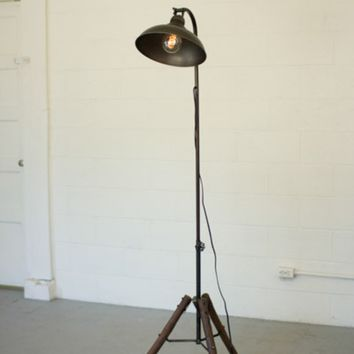 Floor Lamp with Antique Metal Dome Shade and Wooden Stand
