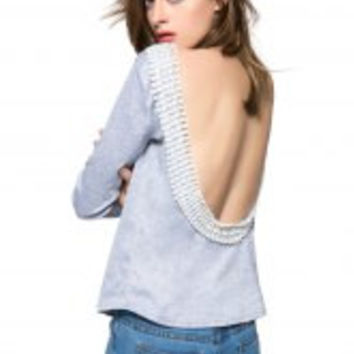 Gray Long Sleeve Backless T-Shirt