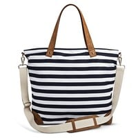 Women's Striped Canvas Tote Handbag with Removeable Crossbody Strap - Navy & White - Merona™