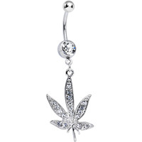 Clear Gem Paved Pot Leaf Dangle Belly Ring | Body Candy Body Jewelry