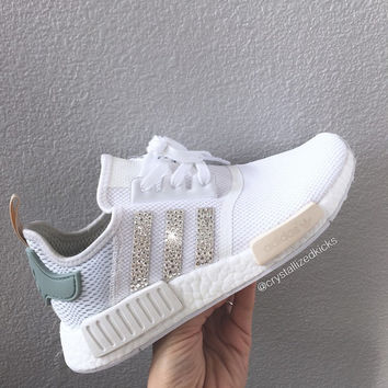 Adidas NMD Runner Made with SWAROVSKI® Xirius Rose Crystals - White/Tactile Green