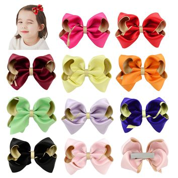 "10 Pcs/Lot Dacron 3.5"" Bi-color Hair Bow with Covered Clips for Baby Girl Toddlers Kids Children Women Handmade Barrettes Hair Accessories"
