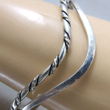 Sterling Silver Hammered Cable Cuff Bracelet Signed Pierson Chevron