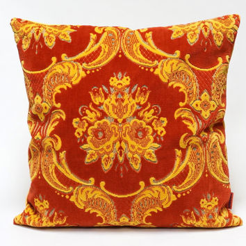 Velvet Pillow Cover in red and yellow - Handmade with Love from vintage upholstery fabric.