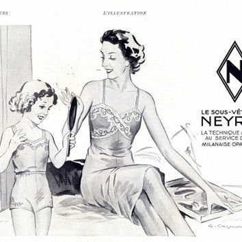 Neyret underwear lingerie vintage advertising, French underwear retro advert, vintage magazine ad 1938, mother and daughter ad