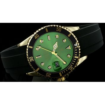 Rolex  tide brand fashion men's automatic watch F-SBHY-WSL Black case + gold letter + green dial