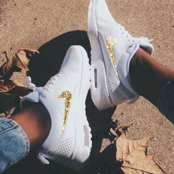 NIKE Air Max Thea Trending Diamond Women Men Shining Sequin Shoes