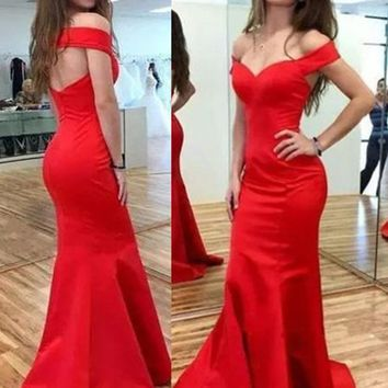Off Shoulder Mermaid Red Prom Dresses, Red Off Shoulder Graduation Dresses, Formal Dresses