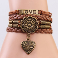ONE Fashion Infinity LOVE Heart Flower Friendship Antique Copper Leather Charm Bracelet = 1931649540
