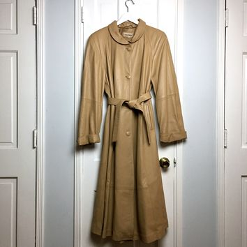 Authentic vintage 80s tan lamb skin leather women's trench coat sz S