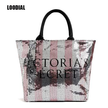 Loodial New 2017 New Fashion Women Handbags Pink Sequins Large Canvas Totes Bag Letters Shoulder Bags for Women Top-handle Bags